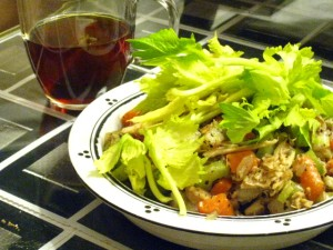 Sauteed vegetables with shredded chicken, celery greens and quinoa